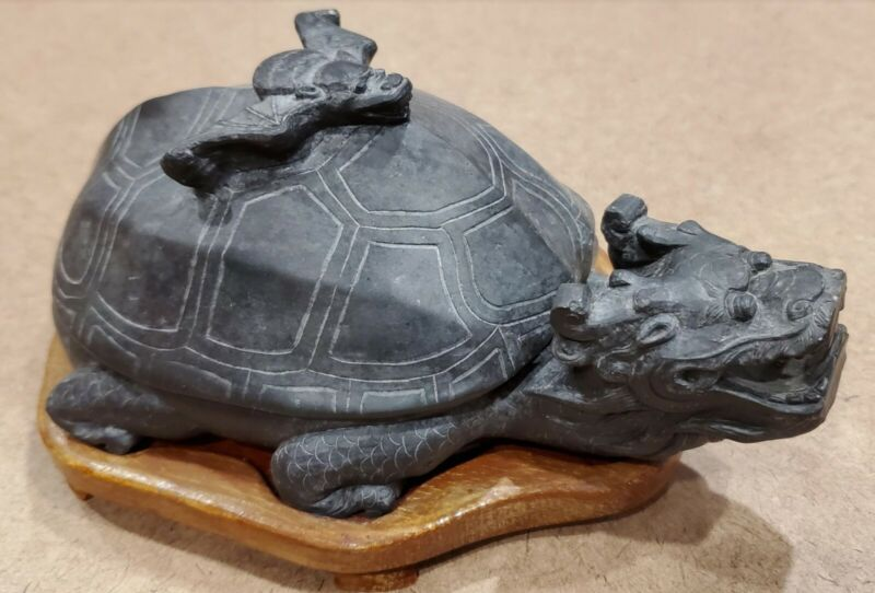 Chinese Duan Ink Stone Carved as Dragon Headed Tortoise with a Bat on Shell