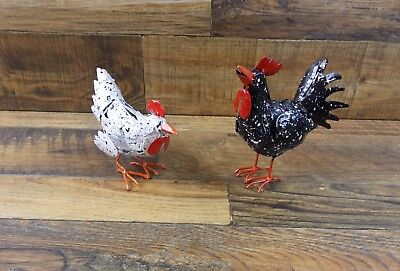 Set of 2 Small Metal Rooster Statues Yard Garden Decor Yard Art Ornament