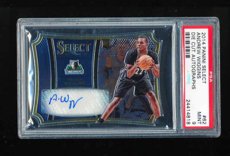 1/1 Psa 9 Andrew Wiggins 2014-15 Panini Select Die Cut Auto Jersey Number 22/99