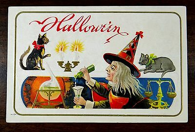 WITCH MIXING POTION CASTING SPELL CATS Nash H-24 Fantasy HALLOWEEN Postcard 1910