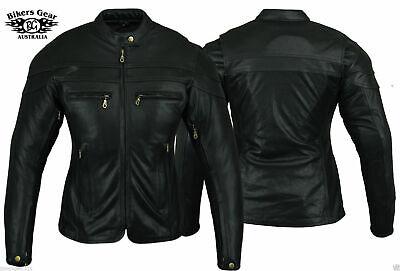 AUSTRALIAN BIKER GEAR Womens Sturgis Ce Armoured Motorcycle Leather Jacket  ()