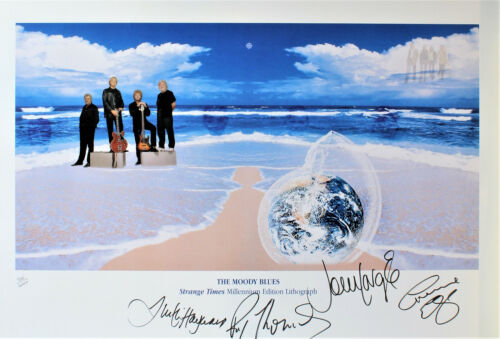 The Moody Blues hand signed Litho print Strange Times, signed by all 4 members