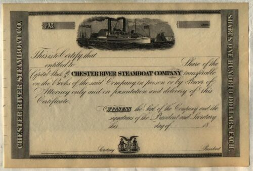 Chester River Steamboat Company Stock Certificate