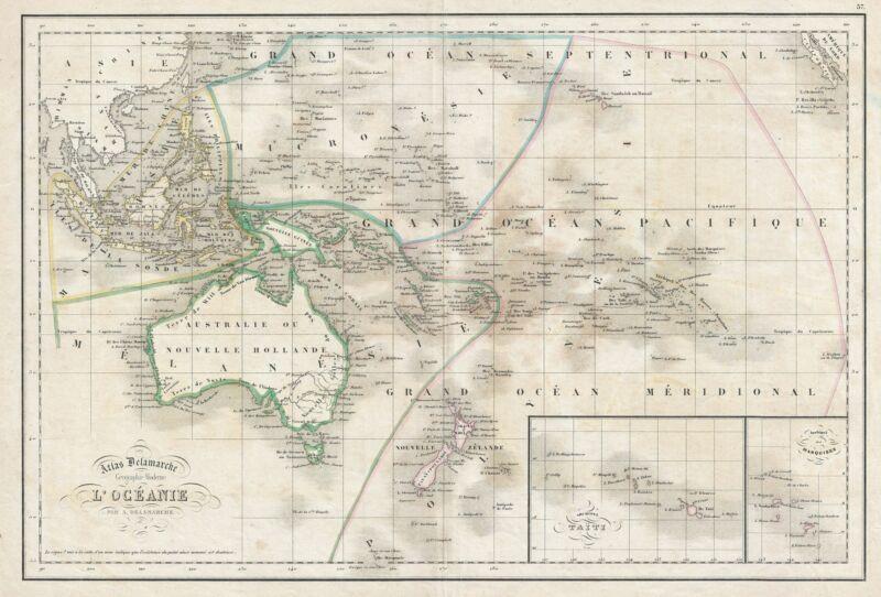 1850 Delamarche Map of Australia and Polynesia