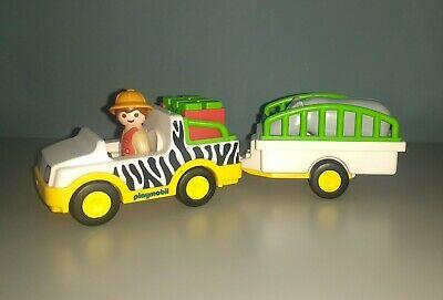 Playmobil 1.2.3 6743 Safari Truck & Trailer with Rhino VGC
