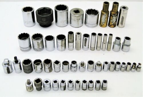 50 Piece Military USA Assorted Shallow, Standard, Deep & Impact Socket Lot