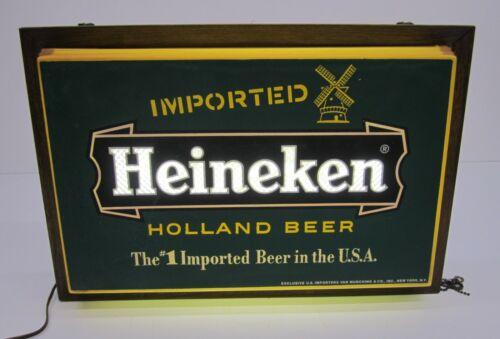 """Vtg Imported Heineken Holland Beer Lighted Advertising Bar Sign 19"""" Pub Man Cave"""