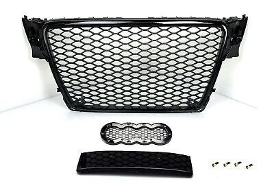RS4 Grill Look für Audi A4 B8 8K S4 S line Limo Avant Wabengrill Kühlergrill 6