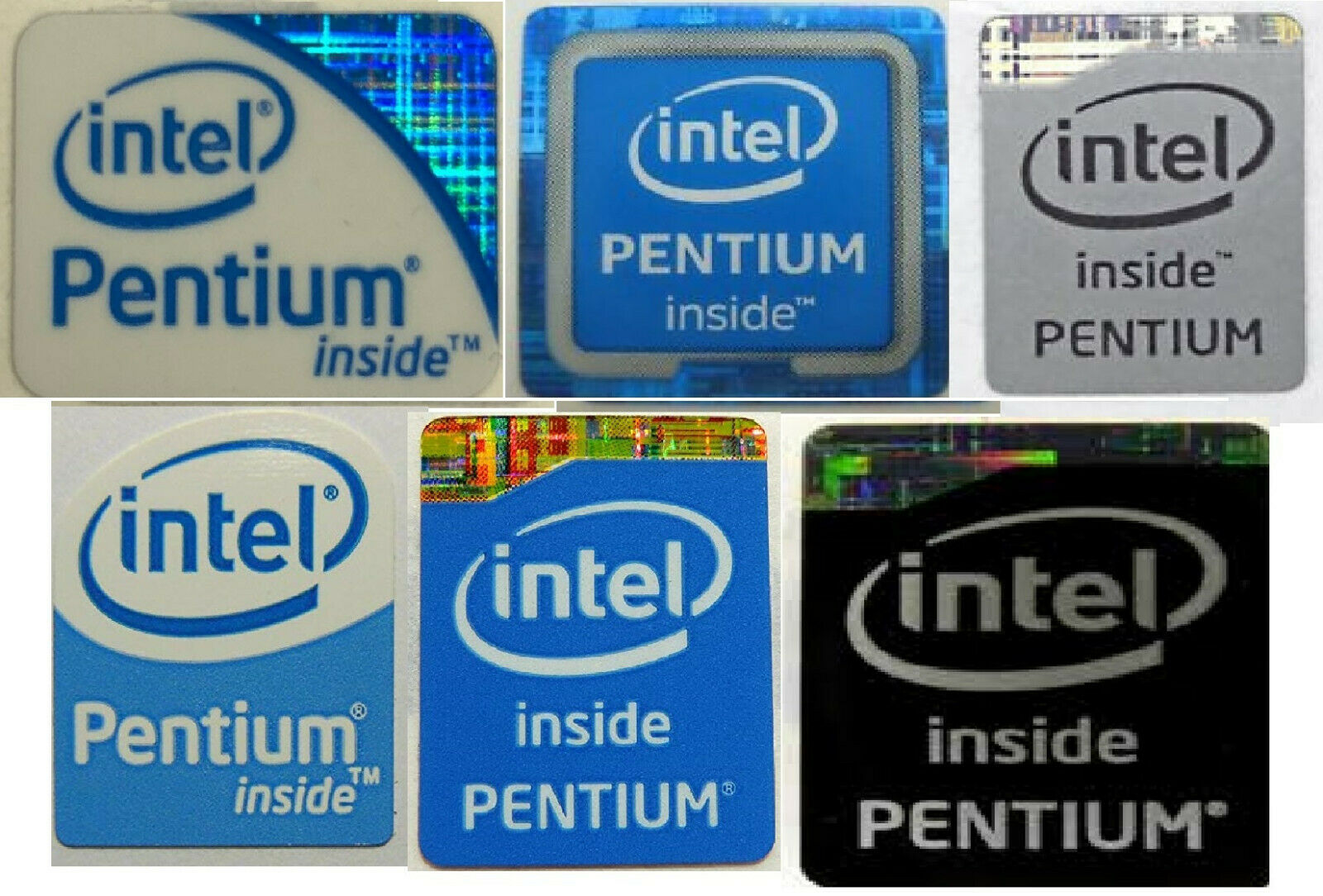 white top Intel Core 2 Extreme Sticker 16mm x 20mm