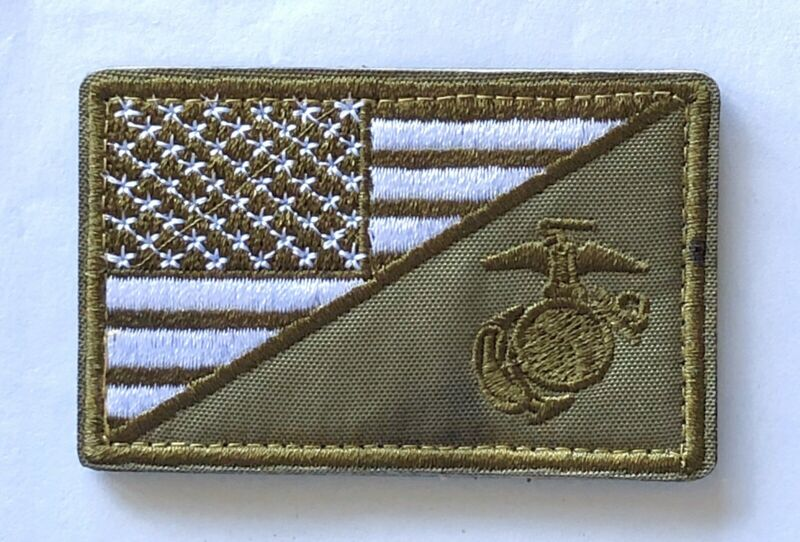USA FLAG MARINE CORPS USMC NAVY VELCRO® Hook & Loop Patch Military Green