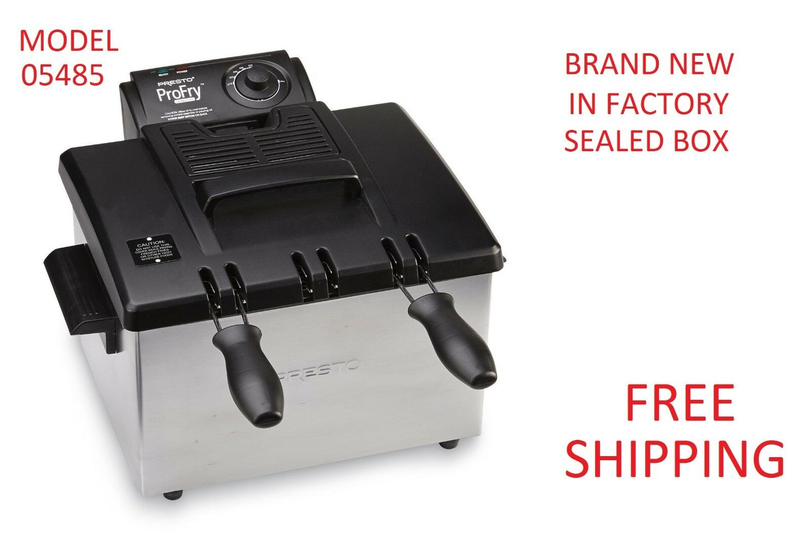 Electric PRESTO Stainless Steel Countertop Deep Fryer with D