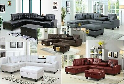 - New Pu Leather Living Room Sectional Sofa Set in Black/White/Grey/Brown/Red