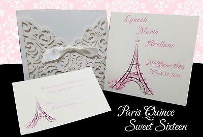 Paris Theme Laser Cut Pocket w Insert Quinceanera Sweet sixteen Quince Invites - Paris Themed Invitations