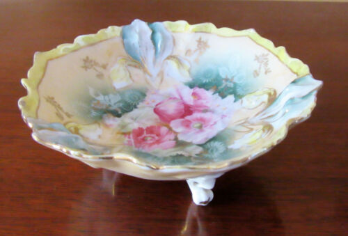 Antique RS Prussia Smaller Footed Bowl with Pink Roses, Full of Color
