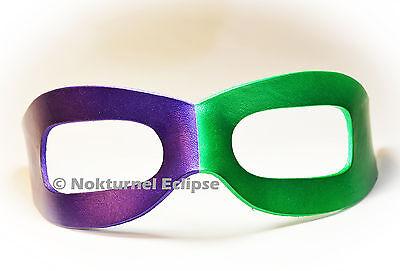 Purple & Green Riddler Leather Mask Halloween Batman Masquerade Superhero Unisex - Green Superhero Mask