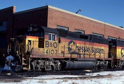B&O / Chessie System GP40-2 # 4103 @ Riverdale, IL 1/18/1981