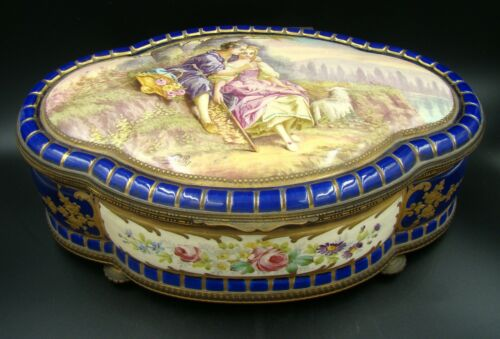French Sevres Porcelain Cobalt Blue Covered Box Lovers Gold Ornate & Bronze 1880