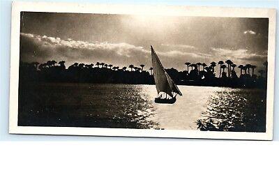 *Cairo Egypt Sunset on the Nile Sailboat Sailing Vintage Postcard C50