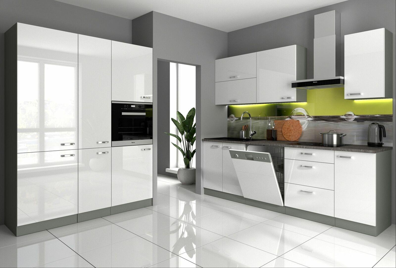 Küche Bianca I 240 + 160 cm Küchenzeile Hochglanz weiß Küchenblock Einbauküche