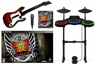PS3 WARRIORS OF ROCK Game Bundle Set w/Guitar/Drum/Mic hero Used super kit WOR