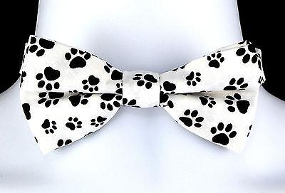 Bow Wow Meow Bow Tie Mens Adjustable Dog Cat Animal Fun Paw Print White Bowtie - Fun Bow Ties