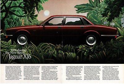 1987 JAGUAR XJ6 Bordeaux Red 4-door in the jungle Centerfold art Vintage Ad