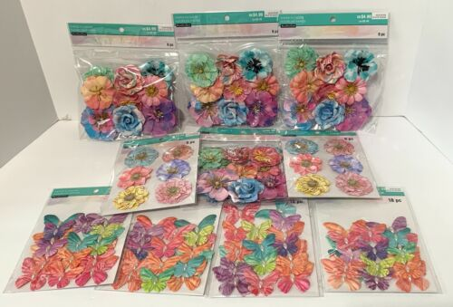 Recollections Color Splash Paper Flowers Embellishments Butterfly Lot of 10