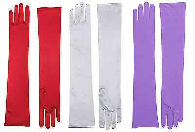 Womens Long Satin Opera Gloves Purple Red White Jessica Rabbit Dress Up - Dress Up Gloves