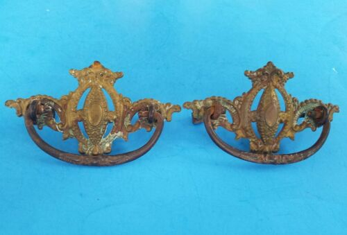 Antique Pair Ornate Victorian Brass Drawer Handles Pulls