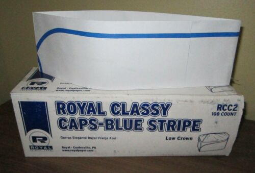 a lot of 200 ~ Royal Blue Stripe Classy Cap ~ Paper Hats for Restaurant Kitchens