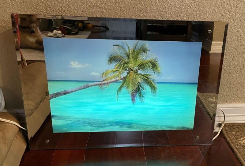 "Vintage Light Up Beach Motion Mirror Picture w/ Sounds 17.5""x25.5""x3"""