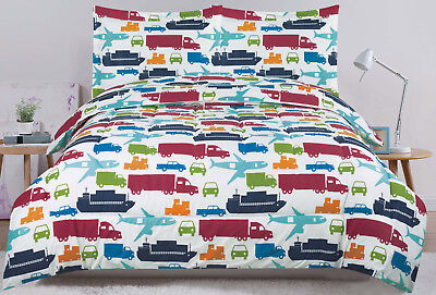 Twin or Full Bed Set Kids Boys Bedding Comforter, Car Truck Plane