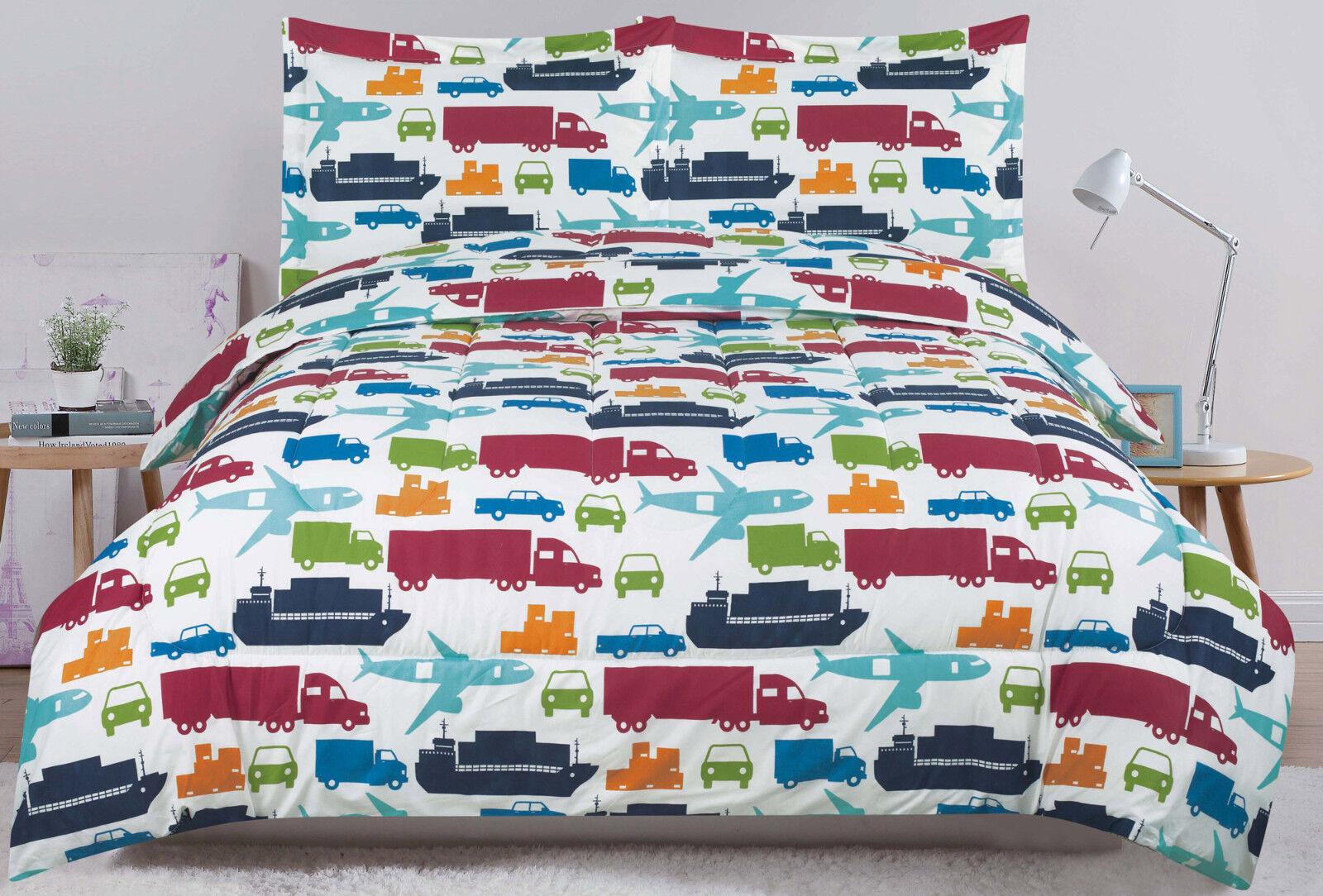 Twin or Full Bed Set Kids Boys Bedding Comforter, Car Truck Plane Boat Bedding