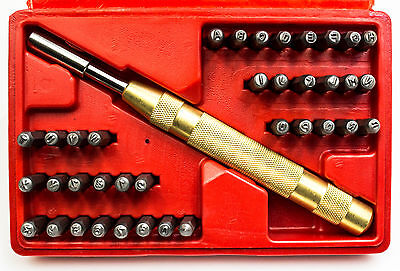 """39pc Automatic Center 1/8"""" Steel Metal Letter Number ID Alphabet Punch Tool Set"""