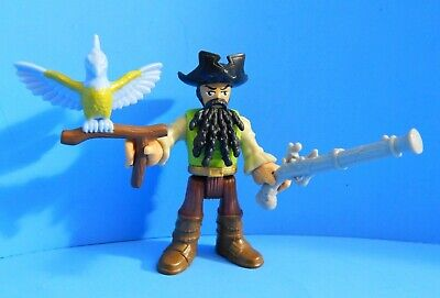 FISHER PRICE IMAGINEXT BLACKBEARD PIRATE FIGURE with PARROT & GUN