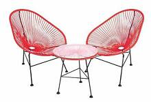 New Red Replica Acapulco Outdoor Furniture 3 Pc Chairs Table Set Melbourne CBD Melbourne City Preview