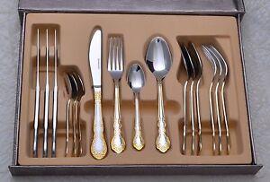 16 Piece Gold Coloured Cutlery Dinnerware Set