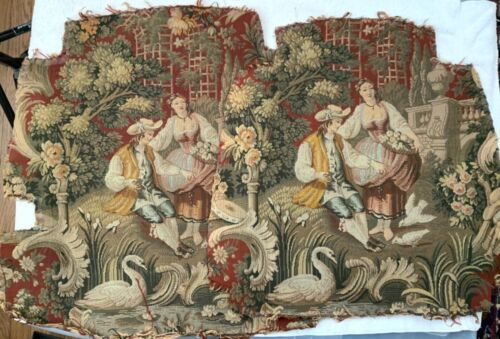 (2)Matching Antique VICTORIAN Textile Needlepoint Embroidery- COURTING SCENE