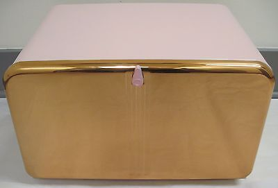 Vintage 1950's Pink & Copper Lincoln Beautyware Metal Kitchen Bread Box NOS new
