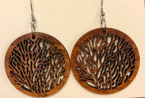 Hawaiian Natural Koa Wood Coral Style Circle Earring