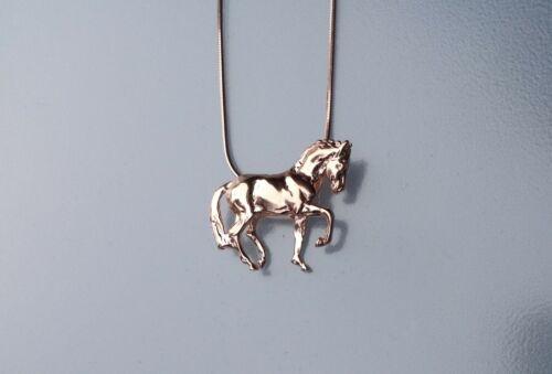 Dressage Piaffe  Artisan Rose Gold pendant & chain Zimmer horse jewelry