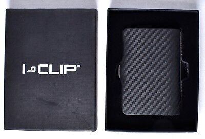 Black Money Clip - I-CLIP Black Money Clip Slim Wallet Card Holder Carbon/Leather >NEW<