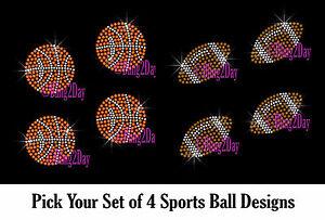 SET-OF-4-BALL-SPORTS-RHINESTONE-IRON-ON-TRANSFER-HOTFIX
