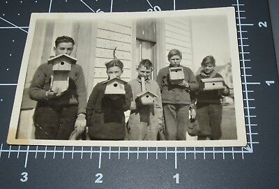 PROUD Boys w/ BIRD HOUSE Construction School PROJECT Craft 1910's Vintage PHOTO