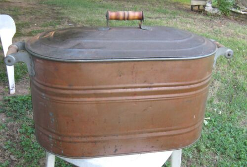 "Vtg 23"" Long COPPER Tub w/Wood Handles & Lid - Good for Firewood, Boiler, Wash"