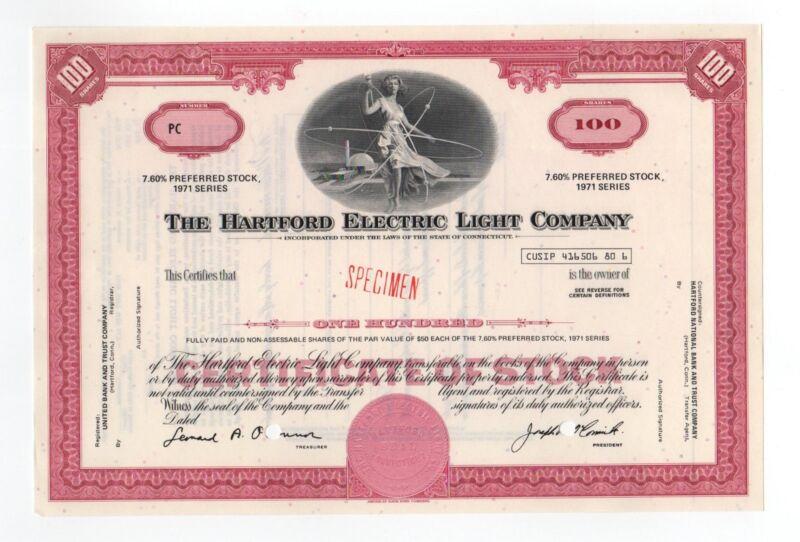 SPECIMEN - The Hartford Electric Light Company Stock Certificate