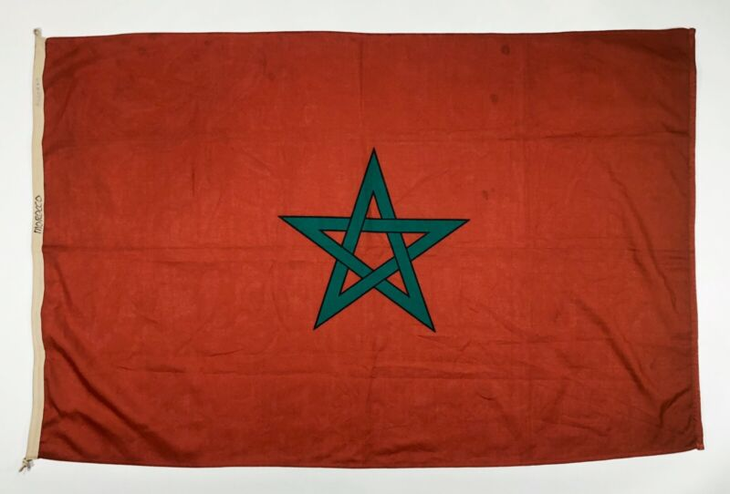 Vintage Morocco Flag Nautical Cloth Old Moroccan African Banner Africa Pentacle