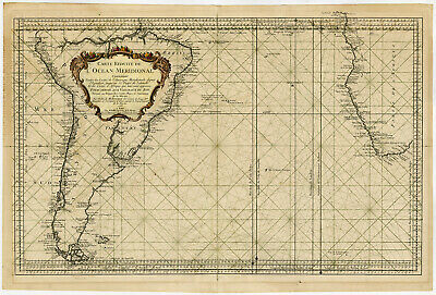 Rare Antique Print-SOUTH ATLANTIC OCEAN-SEA CHART-Bellin-1753