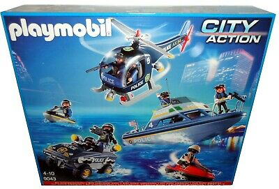 PLAYMOBIL 9043 CITY ACTION POLICE SWAT PLAYSET WITH UNDERWATER MOTOR *BNIB*