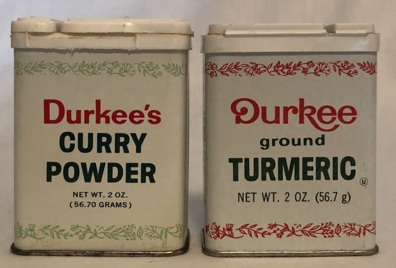 Durkee's Curry Powder Ground Turmeric Spice Tin Vintage Lot of 2 Tins L2